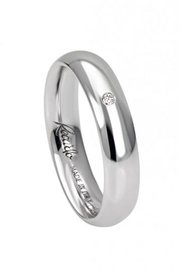 Fede nuziale recarlo oro 18kt bianco diamante matrimonio wedding w14fl001/bd