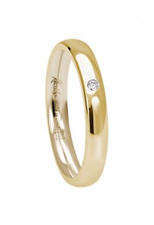Fede Nuziale Recarlo Oro 18kt Giallo Diamante Naturale Matrimonio Wedding W14FD002/GD