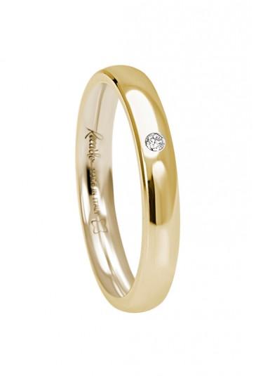 Fede nuziale recarlo oro 18kt giallo diamante matrimonio wedding w14fd002/gd