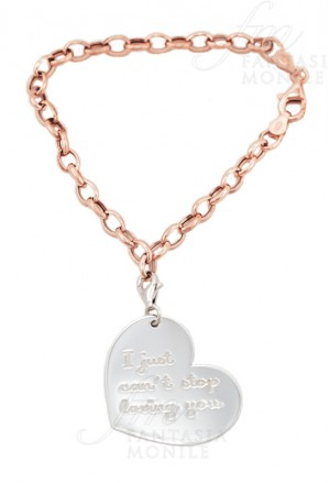 Bracciale Lady Argento Charm Cuore Incisione I Just Cant Stop Loving You My Charm ABR11