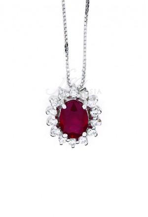 Collana Donna Rubino Rosso Oro 18kt Diamanti Naturali Demetra 139.055.R12