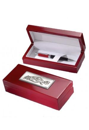Penna Roller Laurea Scatola Rossa Applicazione Argento 925 Acca 137D.26