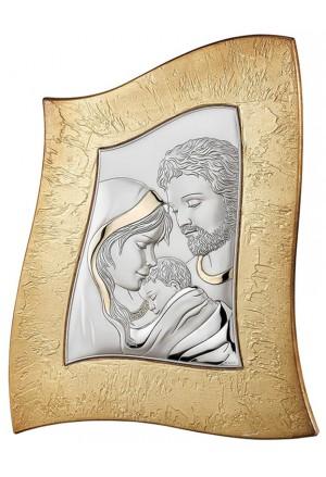 Quadro Sacra Famiglia Argento Bilamina Legno Dipinto Oro Valenti 18014/1L