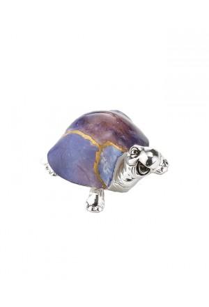 Tartaruga Portafortuna Small Placcata Argento Vetro Colorato Blu Acca AR 907 TA