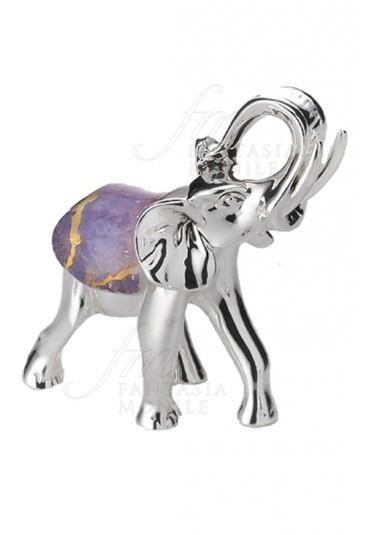 Elefante Portafortuna Medium Placcato Argento Vetro Colorato Acca AR 965 EL