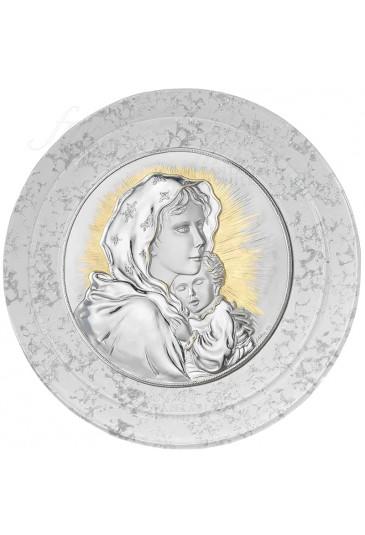 Quadro Madonna Con Bambino Capoletto Argento 925 Vetro Murano Acca 139ER.19