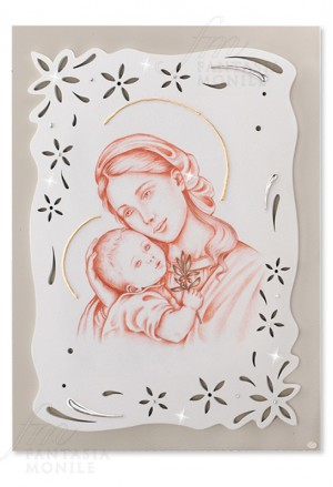 Quadro Madonna Con Bambino Capoletto Argento 925 Legno Dipinto Acca QS.602P.M