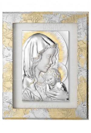 Quadro Madonna Con Bambino Capoletto Argento 925 Legno Dipinto Acca 146B.19