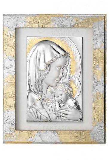 Quadro Sacro Argento Legno Madonna Acca 146B.19