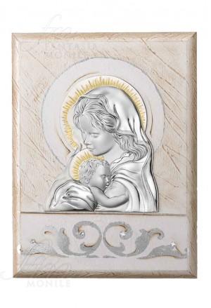 Quadro Madonna Con Bambino Capoletto Argento 925 Legno Dipinto Acca 285BR