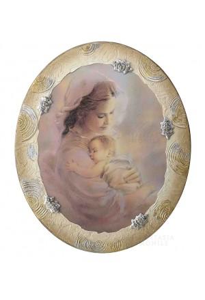 Quadro Madonna Con Bambino Capoletto Argento 925 Legno Dipinto Acca 329ZR.1