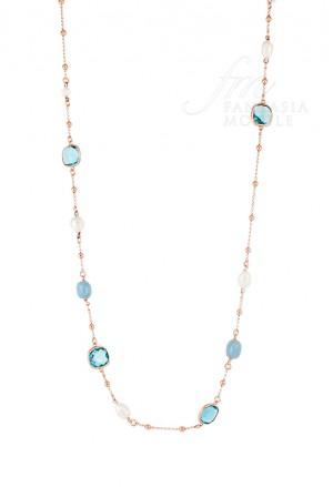 Collana Donna Printemps Iridescent Pietre Angelite Cristalli Perle Ottone Sovrani J1964