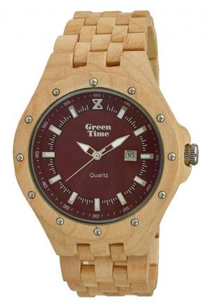Orologio Uomo Legno Sandalo Wood Quadrante Rosso Bordeaux Green Time ZW038C
