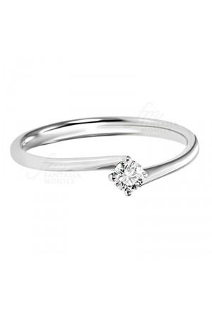 Anello Donna Solitario Fidanzamento Diamante Naturale Oro 18kt Modello Principesse Recarlo FR005/013