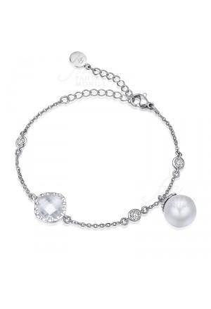 Bracciale Donna Acciaio Perle Cristalli Luca Barra BK1305