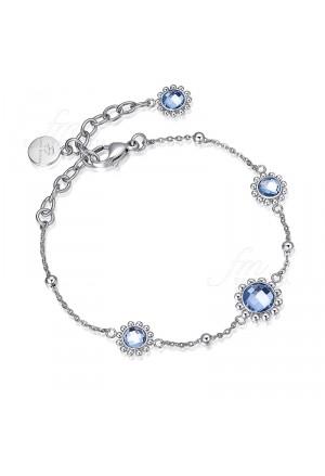 Bracciale Donna Acciaio Cristallo Azzurro Luca Barra BK1369
