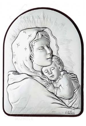 Quadro Madonna Con Bambino Argento 925 Legno Acca 82KT.1