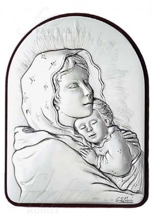 Quadro Sacro Argento Legno Madonna Acca 82KT.1
