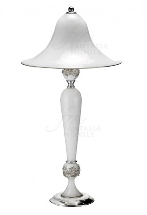 Lampada Vetro Soffiato Bianco Opaco Base Argento 925 Acca 456ET.1