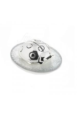 Coccinella Portafortuna Placcata Argento Vetro Bianco Misura Small Acca AR 733 CC