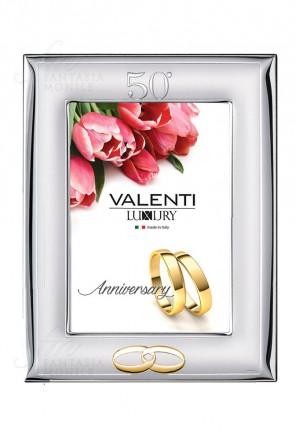 Cornice Portafoto 50° Anniversario Nozze Oro Argento Bilamina 13x18 Valenti 52009/4L
