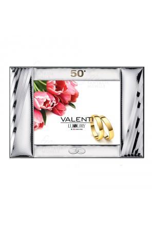 Cornice Portafoto Specchiera 50° Anniversario Nozze Oro Argento Bilamina 32x25 Valenti 56014/2L