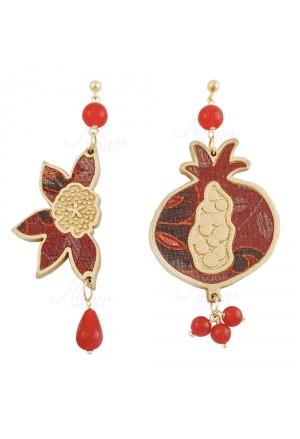 Orecchini Lebole Bonheur Colore Rosso Tessuto Indiano Melagrana Portafortuna Argento 6G3F5FM