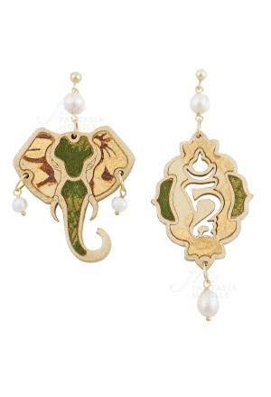 Orecchini Lebole Bonheur Colore Verde Tessuto Indiano Elefante Portafortuna Perle Argento OM2HYFM
