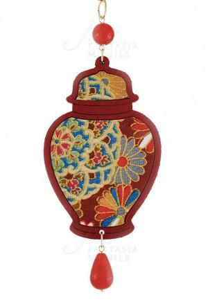 Collana Lebole Potiche Colore Rosso Seta Giapponese Vaso Fiori Argento 1CP3GFM