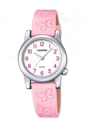 Orologio Calypso  Junior Collection Kids Bambina Cassa Acciaio Cinturino Rosa Farfalle K5711/2
