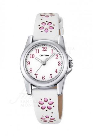 Orologio Calypso Junior Collection Kids Bambina Cassa Acciaio Cinturino Bianco Rosa Fiori K5712/2