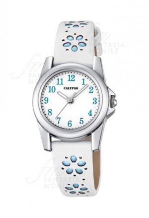 Orologio Calypso Junior Collection Kids Bambina Cassa Acciaio Cinturino Bianco Celeste Fiori K5712/4