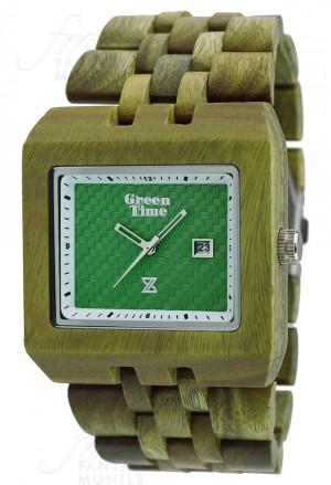 Orologio Green Time Uomo Square Legno Acero Timewood Quadrato Verde ZW004D
