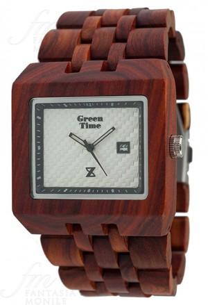 Orologio Uomo Legno Sandalo Wood Quadrato Square Green Time ZW004C