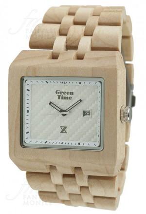 Orologio Uomo Legno Acero Wood Quadrato Square Green Time ZW004B