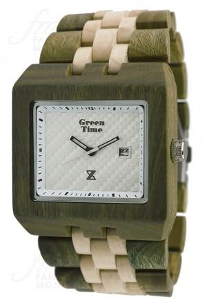 Orologio Green Time Square Uomo Legno Timewood Quadrato Bianco ZW004E
