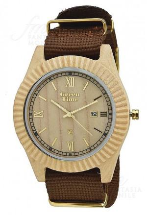 Orologio Uomo Legno Acero Wood Green Time ZW010B