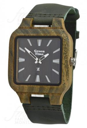 Orologio Quadrato Uomo Legno Sandalo Cinturino Cuoio Green Wood Green Time ZW018C