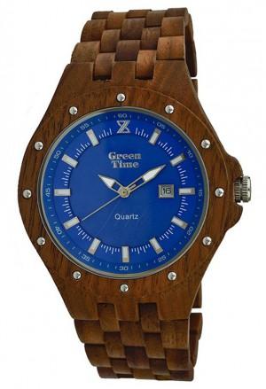 Orologio Uomo Legno Sandalo Wood Quadrante Blu Green Time ZW038B