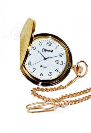 Orologio Lowell Tasca Savonette Dorato Coperchio Lavorato Numeri Arabi Datario Acciaio PO8672