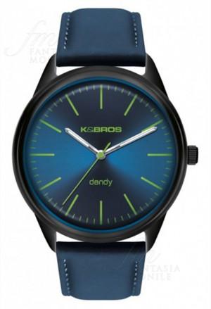 Orologio Uomo Dandy Acciaio Pelle Blu Design Piatto Kebros 9486-5