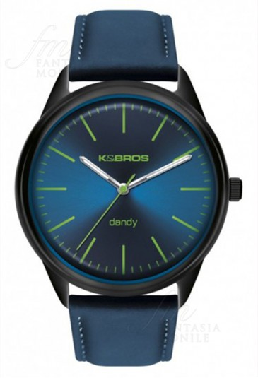 Orologio KeBros Untrapiatto Uomo Dandy Acciaio Pelle Blu Design 9486-5