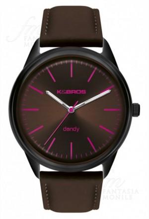 Orologio Uomo Dandy Acciaio Pelle Brown Design Piatto Kebros 9486-4