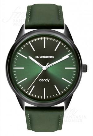 Orologio Uomo Dandy Acciaio Pelle Verde Design Piatto Kebros 9486-3