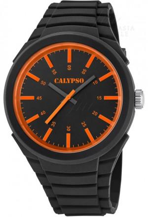 Orologio Calypso Uomo Solo Tempo Nero Arancione K5725/1