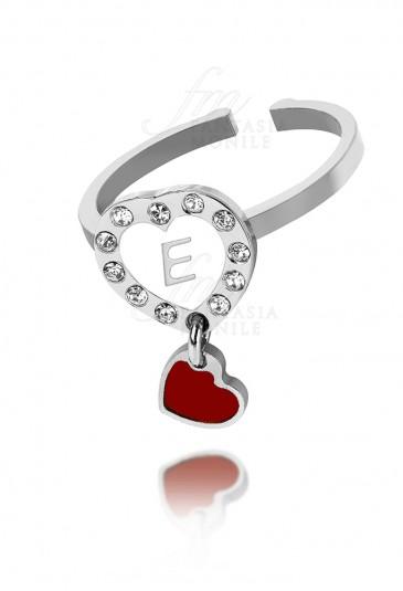 Anello Dvccio Cuore Rosso Smalto Bianco Bronzo Silver Lettera E Charm CVBJTFM