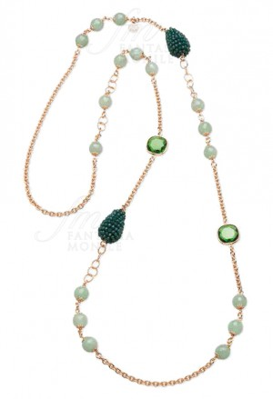 Collana Sovrani Lunga Avventurina Cristallo Verde Ottone Rosa Nicole J2642