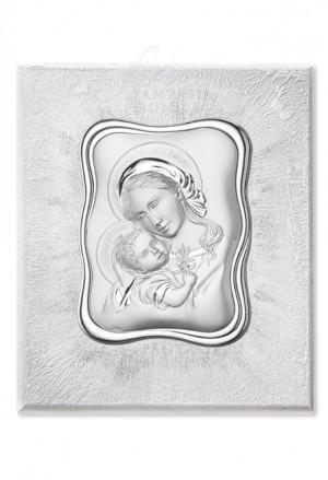 Quadro Acca Sacro Madonna Con Bambino Argento Legno Misura 30X36 E.300 M