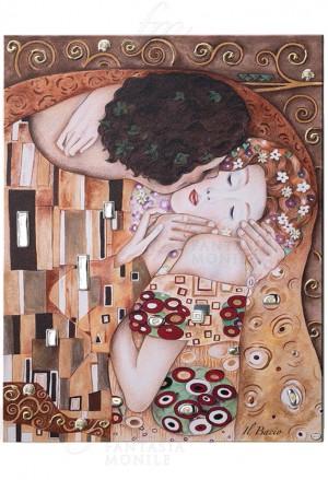 Quadro Acca Il Bacio Klimt Argento 925 Legno Cristalli Misura 46x56 QD.9 KL