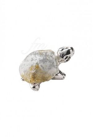 Tartaruga Acca Portafortuna Mini Placcata Argento Vetro Bianco AR 946 TA